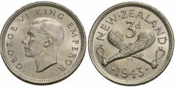 World Coins - New Zealand. George VI. 1943. 3 pence. Choice BU, cartwheel luster.