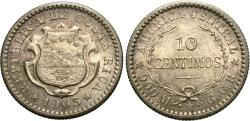 World Coins - Costa Rica. 1905-(P). 10 centimos. AU.