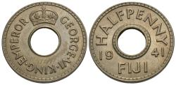 World Coins - Fiji. George VI. 1941. 1/2 penny. Unc.