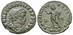 Ancient Coins - Constantine I. A.D. 307/10-337. ' follis. Lugdunum, A.D. 313/4. VF, brown patina with some green mottling on reverse. Strike a touch soft.