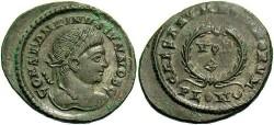 Ancient Coins - Constantine II. As Caesar, A.D. 317-337. Æ follis. London, A.D. 323/4. Good VF, dark green patina, subdued silvering.