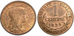 World Coins - France, Third Republic. 1899. 1 centime. BU, red.