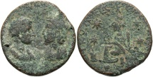 Ancient Coins - Mesopotamia, Edessa. Gordian III, with Tranquillina. A.D. 238-244. Æ. Near VF, green patina.