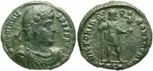 Ancient Coins - Jovian. A.D. 363-364. Æ maiorina. Thessalonica. Fine, green patina.