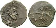 Ancient Coins - Postumus. Romano-Gallic emperor, A.D. 260-269. Æ dupondius. Contemporary imitation. VF, brown patina with brassy highlights. Unusual.