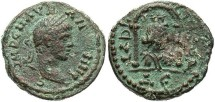 Ancient Coins - Syria, Seleucis and Pieria. Laodiceia ad Mare. Elagabalus. A.D. 218-222. Æ 18 mm. VF, brown patina with green highlights, pit on reverse. Well centered and struck.