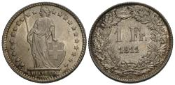 World Coins - Switzerland, Confederation. 1911-B. 1 franc. AU.