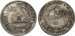 World Coins - Honduras. 1896/86. 5 centavos. AU, toned. Rare overdate.
