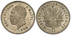 World Coins - Haiti. 1905-(w). 5 centimes. Choice AU.