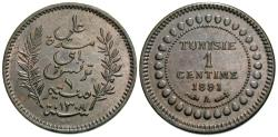 World Coins - Tunisia, French Protectorate. Ali Bey. AH 1307 / 1891-A. 1 centime. Choice Unc., brown.