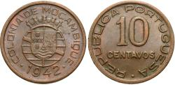 World Coins - Mozambique. 1942. 10 centavos. AU.
