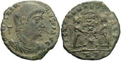 Ancient Coins - Magnentius. A.D. 350-353. Æ centenionalis. Rome. VF, encrusted earthen green patina.