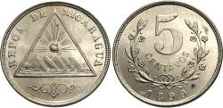 World Coins - Nicaragua. 1899. 5 centavos. Choice BU, strong cartwheel luster. Scarce one-year type.