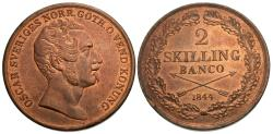 World Coins - Sweden. Oscar I. 1844. 2 skilling. Unc., red.