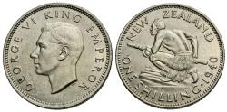 World Coins - New Zealand. George VI. 1940. 1 shilling. AU.