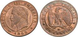 World Coins - France, Second Empire. Napoleon III. 1862-BB. 1 centime. Choice BU, beautifully toned red and brown.