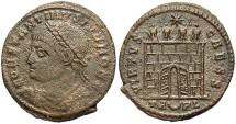 Ancient Coins - Constantine II. As Caesar, A.D. 317-337. Æ follis. Arelate, A.D. 325-326. VF, porous brown surfaces.
