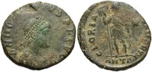 Ancient Coins - Honorius. A.D. 393-423. Æ 21 mm. Antioch. Good Fine, green patina with earthen deposits.