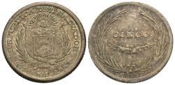 World Coins - El Salvador. 1893-CAM. 5 centavos. EF.