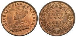 World Coins - British India. George V. 1917-(c). 1/4 anna. Unc.