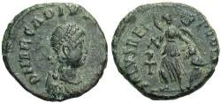 Ancient Coins - Arcadius. A.D. 383-408. Æ nummus. VF, dark earthen green patina.