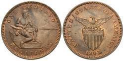 World Coins - Philippines. 1903. 1 centavo. Choice AU.