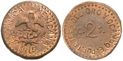 World Coins - Mexico (Revolutionary), Puebla. 1915. 2 centavos. Unc., red and brown. An original issue, not a restrike.