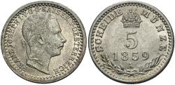 World Coins - Austria. Franz Joseph I. 1859-A. 5 kreuzer. Choice BU.