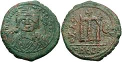 Ancient Coins - Maurice Tiberius. 582-602. Æ follis. Theoupolis (Antioch), regnal year 6 (587/8). VF, green and brown patina, porosity on reverse.