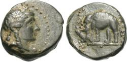 Ancient Coins - Seleukid Kingdom. Antiochos III. 223-187 B.C. Æ. Sardis. VF, dark green patina.