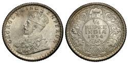 World Coins - British India. George V. 1934-(c). 1/4 rupee. BU.