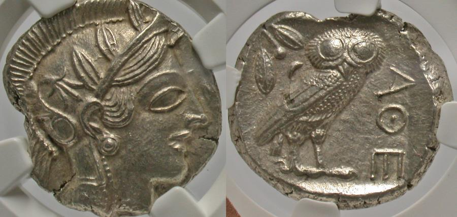 Ancient Coins - Attica, Athens. Ca. 449-404 B.C. AR tetradrachm. NGC MS, strike: 5/5, surface: 3/5, brushed.