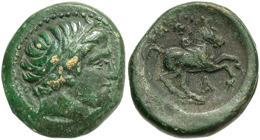 Ancient Coins - Macedonian Kingdom. Philip II. 359-336 B.C. Æ. Uncertain Macedonian mint. VF, green patina.