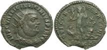 Ancient Coins - Licinius I. A.D. 308-324. Æ follis. Cyzicus. VF, small edge chip.