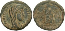 Ancient Coins - Divus Constantine I. Died A.D. 337. Æ follis. Antioch. VF, dark brown patina with earthen depsots.