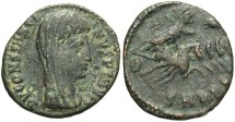 Ancient Coins - Divus Constantine I. Died A.D. 337. Æ follis. VF/Fine, dark green patina.