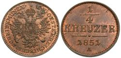 World Coins - Austria. Franz Joseph I. 1851-A. 1/4 kreuzer. Unc., red and brown.