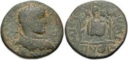 Ancient Coins - Syria, Seleucis and Pieria. Emisa. Elagabalus. A.D. 218-222. Æ. Fine, green patina, ancient scratch on reverse.