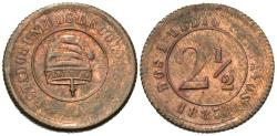 World Coins - Colombia. 1885-(B). 2 1/2 centavos. AU, one-year type.
