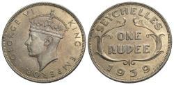 World Coins - Seychelles. George VI. 1939. 1 rupee. Choice Unc., light toning, lustrous.