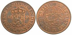 World Coins - Netherlands East Indies. Wilhelmina I. 1945-P. 2 1/2 cents. AU, red and brown.