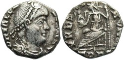 Ancient Coins - Valens. A.D. 364-378. AR '1/2 siliqua'. Treveri, A.D. 367-378. Nearly VF, a few cleaning scratches. Heavily clipped.