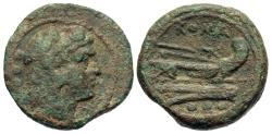 Ancient Coins - Anonymous. After 211 B.C. ' quadrans. Rome. Nice VF, heavy earthen-green patina, slightly rough.