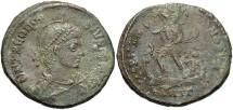 Ancient Coins - Theodosius I. A.D. 379-395. Æ. Antioch. Nearly VF, green patina, light porosity.