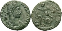 Ancient Coins - Constantius II. A.D. 337-361. Æ centenionalis. Arelate. VF, green patina, tight flan, scrape on obverse.