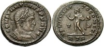 Ancient Coins - Constantine I. A.D. 307-337. Æ follis. Trier, A.D. 316. VF, brown patina, minor porosity. Unusally heavy flan.