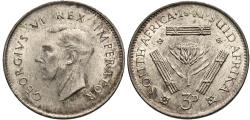 World Coins - South Africa. George VI. 1941. 3 pence. Unc., light scratches on neck.