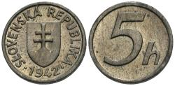 World Coins - Slovakia. 1942. 5 halierov. BU, a rare wartime issue with plenty of appeal. Rare.