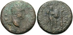 Ancient Coins - Samaria, Caesarea Maritima. Titus. As Caesar, A.D. 69-79. Æ. Fine, brown patina, small pit on obverse.