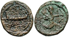 Ancient Coins - Phoenicia, Sidon. Uncertain king. Ca. 365-356 B.C. Æ 14 mm. Fine, porous brown and green surfaces. Scarce.
